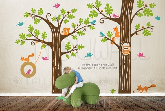 Kids wall decals wall sticker tree decal animal friends in - Wall stickers camerette ...