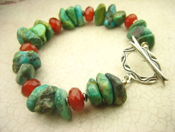 Natural  African Turquoise Red Carnelian Beaded Stone Bracelet Sterling Silver Southwestern Style