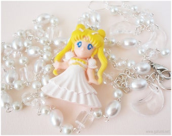 OOAK Princess Serenity Necklace, Beaded White Pearl Chain with Figure Pendant and Matching Earrings - Anime, Sailor Moon