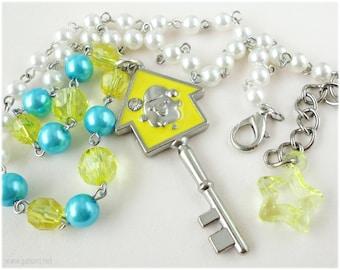 Kiiroitori Key Necklace, White Pearl Beaded Chain with Silver Key Pendant - Kawaii, Sweet Lolita