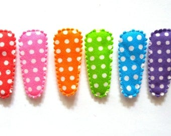 100 pcs -  Cute Polka dot Cotton Hair Clip COVERS for toddler -  Mix rainbow color -  size 35 mm