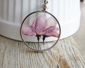 Framed Flower Pendant Necklace Pressed Flower Purple Flowering Crabapple Tree Sterling Silver Chain Nature Inspired Botanical Jewelry