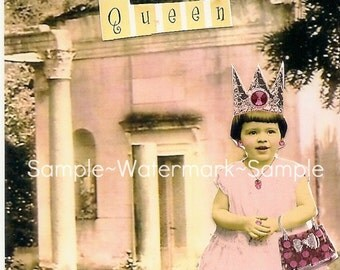 Pink Queen Blank Greeting Card with Envelope-From the Collection of 10 Queens( 41/4x51/2-A2)