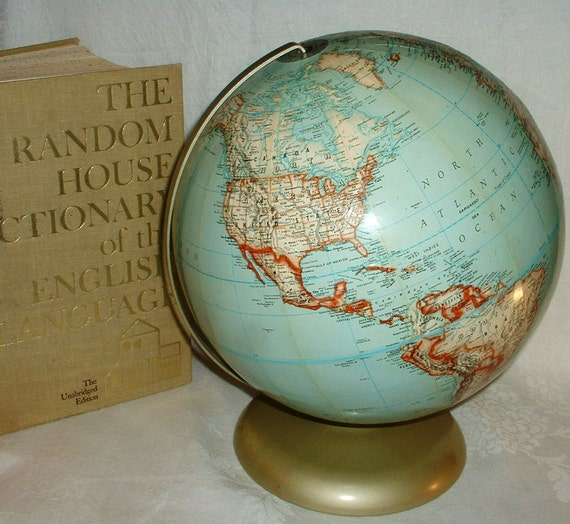 Mid Century Rand McNally Political Globe 12 inch Metal Base
