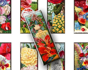 Digital Collage Sheets Vintage Floral Seed Cards Microscope Slides, Pendant Images