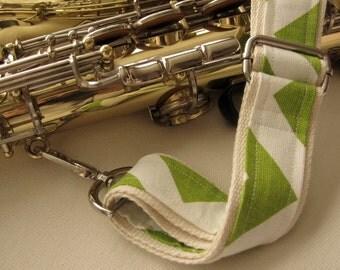 "Saxophone Neck Strap, 1.5"", Heavy Duty, Green Chevron, Silver Hardware"