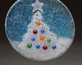 Christmas Tree Holiday Ornament Fused Glass comes in Gift box