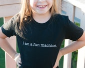 Childs size 8 black crew neck t-shirt  - I am a fun machine.