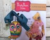 Shabby Owl pendant hanger ornament from Brady Bears Studio antique style, primitive, folk art