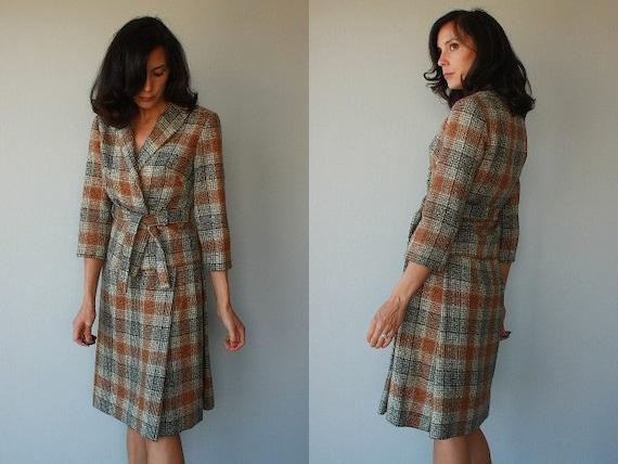1950s wool suit / 50s ladies suit / skirt suit / skirt and jacket set / plaid wool suit - size small