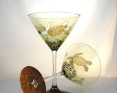 Sea Turtle Martini Glasses Hand Painted Margarita Cocktail Coastal Glassware ~ Pair