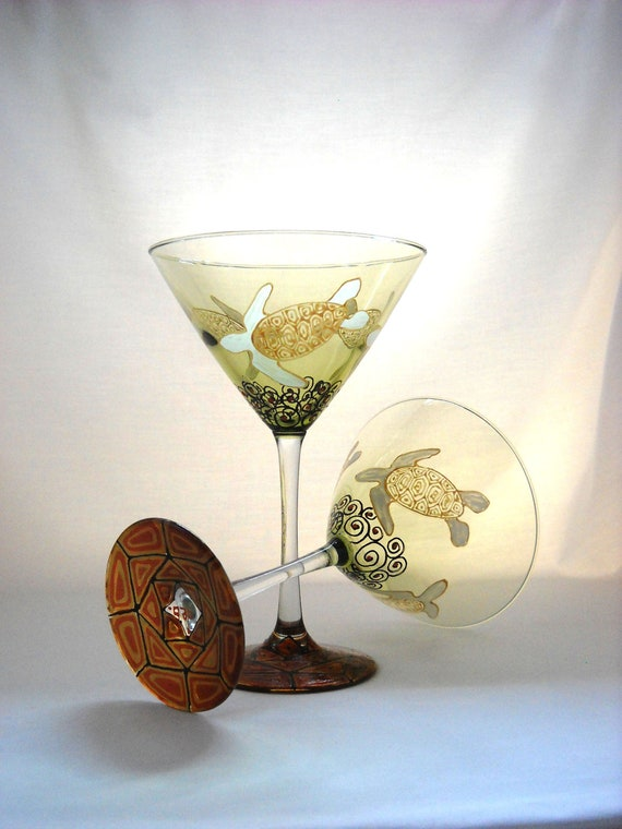 Sea Turtle Martini Glasses Hand Painted Glassware Coastal Art Glass ~ Pair