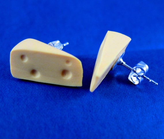 Cheese Stud Earrings made from Fimo