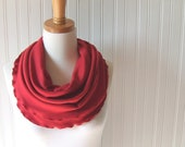 Red Rose Infinity Scarf with Ruffles