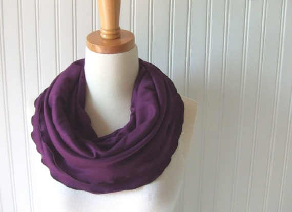 Blackberry Infinity Scarf - Ruffled Jersey Circle Loop Fall and Winter Fashion