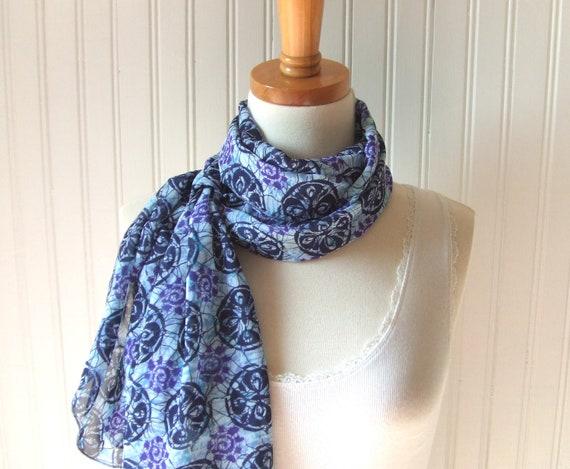 Tropical Batik Chiffon Scarf - Navy Blue, Lavender, Violet Sheer Summer Scarf