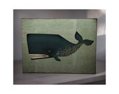 Sale - The Barnacle Whale graphic art illustration Gallery Wrapped Canvas panel 9x12 inches signed