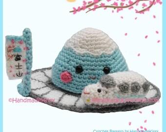 Mount Fuji and Shinkansen Amigurumi PDF Crochet Pattern by HandmadeKitty
