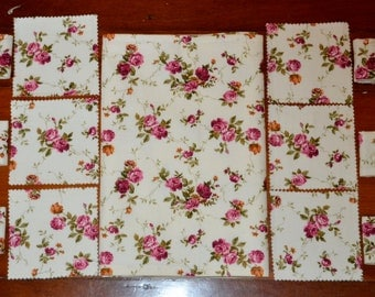13 Pce Burgundy & Ivory ROSES Triple Layer Table Placemats PLUS Drink Coaster PLUS Napkin Rings  - See my shop for lots of other lovely sets