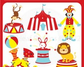 Circus digital clip art - lion, monkey, trapeeze, ball, clown, circus tent, pop corn, carnival - Personal and Commercial Use Clip Art
