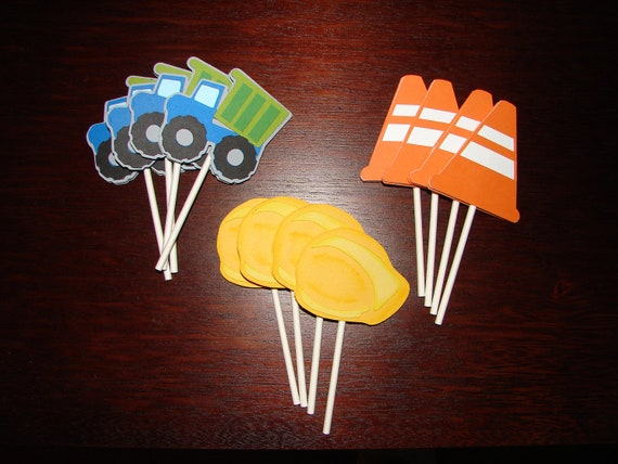 Construction Cupcake Toppers - Party Decorations - Party Supplies