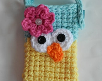 Crocheted Owl Cell Phone/ IPhone / Small Gadget Cozy/ Aqua and  Yellow