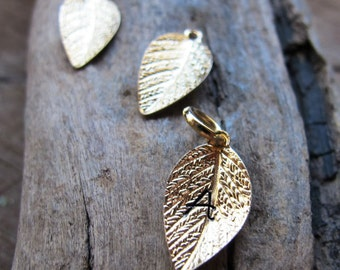 Gold Initial Leaf Charm - Tiny Personalized Leaves - Hand Stamped Jewelry Add ONs - Necklace charm