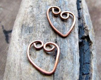 Copper Heart Dangles for Earrings, Pendant, Necklace, Charms - Love Christmas in July