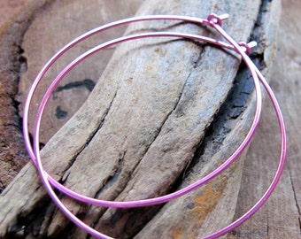 Thick Hoop Earrings 2 inch - Large Pink Hoops - Artisan Hammered Round Earrings - Everyday Jewelry - Fashion Earrings, 1.5 inch Hoops