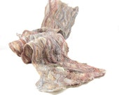 Textured Felt Scarf Wool Scarf in Shades of Beige with Embedded Ribbon