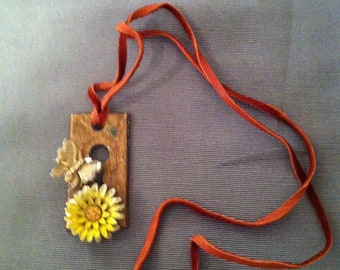 Antique keyhole necklace, yellow flower and gold butterfly from vintage brooches