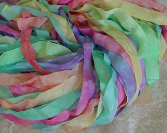 Almost GONE - Hand Dyed ribbon - pretty very popular SUGARED GUMDROPS, 5 yards