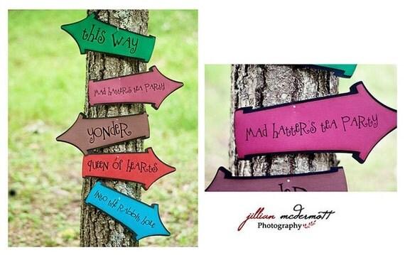 Mad Hatter's Tea Party/Alice in Wonderland SIGNS...Tim Burton's Alice in Wonderland inspired colors...NEW