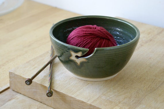 SALE - Stoneware pottery yarn bowl with little star hook glazed in green