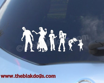 Zombie Stick Figure Family, Custom sticker, Vinyl Sticker, Car Decal, Zombie Family, personalized zombie family