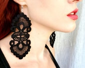 Vintage Style Black Lace Gypsy Earrings - Victorian Gothic
