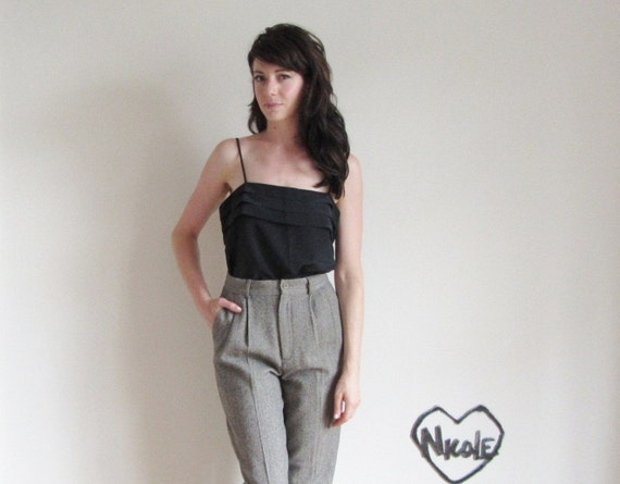 dapper calvin klein trousers . high waist charcoal gray wool .extra small.small.xs .sale