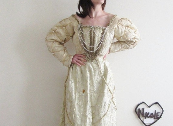 18th century XVIII french renaissance gown . rococo contouche ornate marie antoinette dress . oh MY .sale