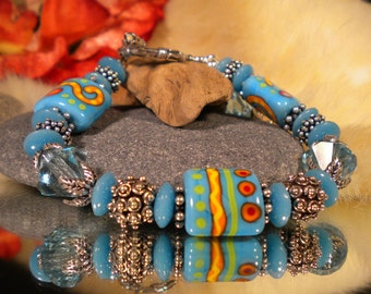 Lamwork bracelet and earring set SUMMER FUN