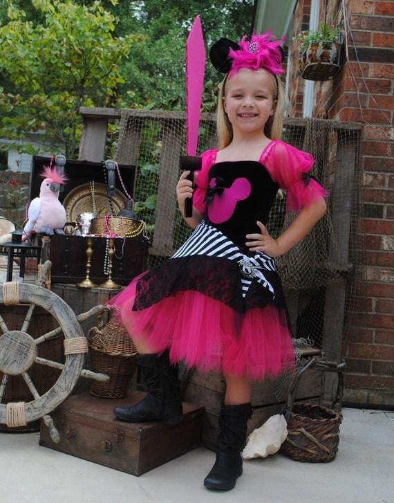 Custom Boutique Minnie inspired hot pink pirate tutu Halloween costume 2t