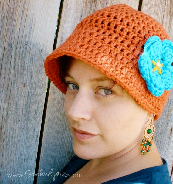 Crochet Flapper Hat - Vintage Style Hat with Flower  - You Choose Colors