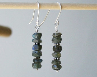 Labradorite earrings beaded jewelry sterling silver earrings dangle