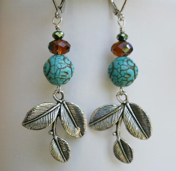 Multi bead earrings, ethnic earrings, boho style, turquoise bead