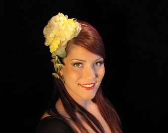 Yellow Fascinator on Headband| Yellow Hair Accessory| Yellow Rose| OOAK Yellow Fascinator| Floral Headband| Floral Headpiece| Bespoke