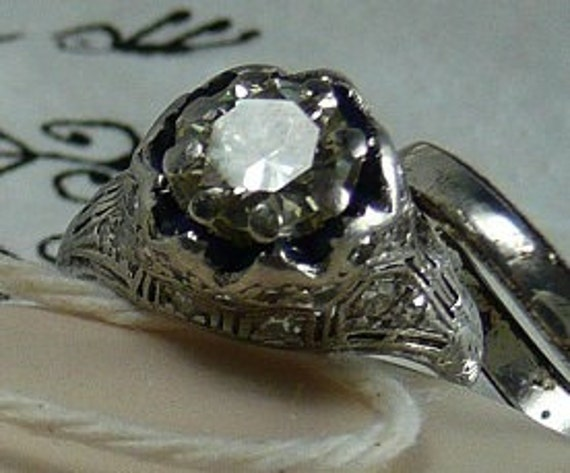 RESERVED for Brian - Stunning Vintage Platinum Diamond Engagement Ring - something old