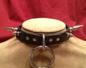"Medium Bondage Ring Collar with 1/2"" and 1"" spikes"