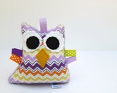 Stuffed Owl Plush Rattle Softie Baby Toy Small Owl Minky Purple Green Orange