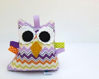 Stuffed Owl Plush Rattle Softie Baby Toy Small Owl Minky Purple Green Orange