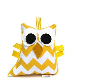 Stuffed Chevron Owl Plush Rattle Baby Softie Yellow