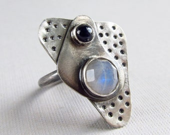 sterling silver cocktail ring with rainbow moonstone and sapphire